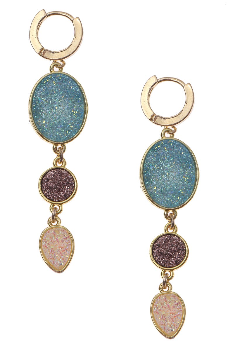 NAKAMOL CHICAGO Drusy Huggie Drop Earrings, Main, color, BLUE/ GOLD