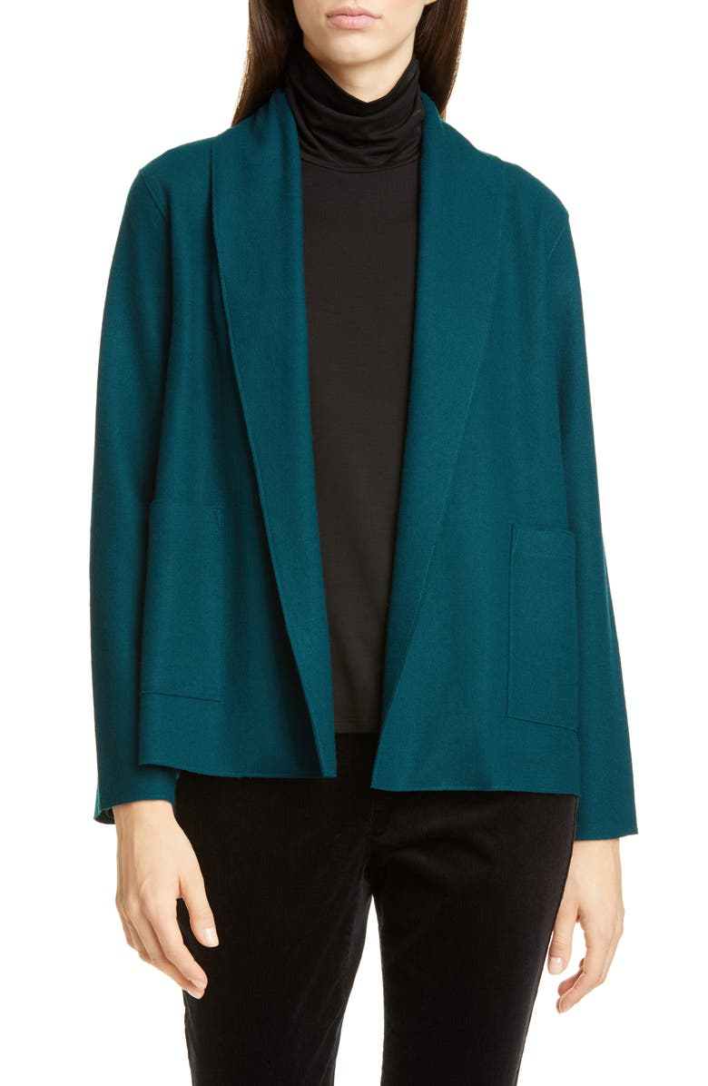 EILEEN FISHER Shawl Collar Short Wool Jacket, Main, color, BLUE SPRUCE