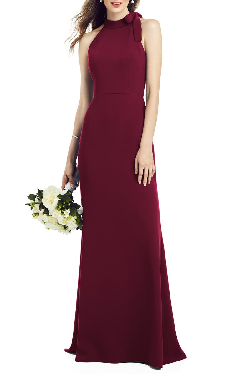 AFTER SIX Bow Neck Crepe Gown, Main, color, CABERNET
