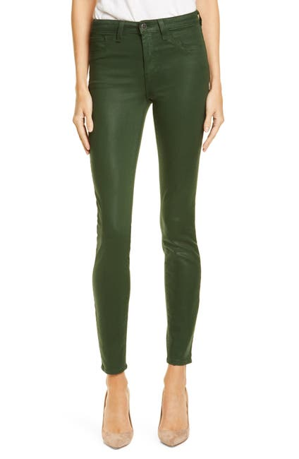 Image of L'AGENCE Margot Coated Crop Skinny Jeans