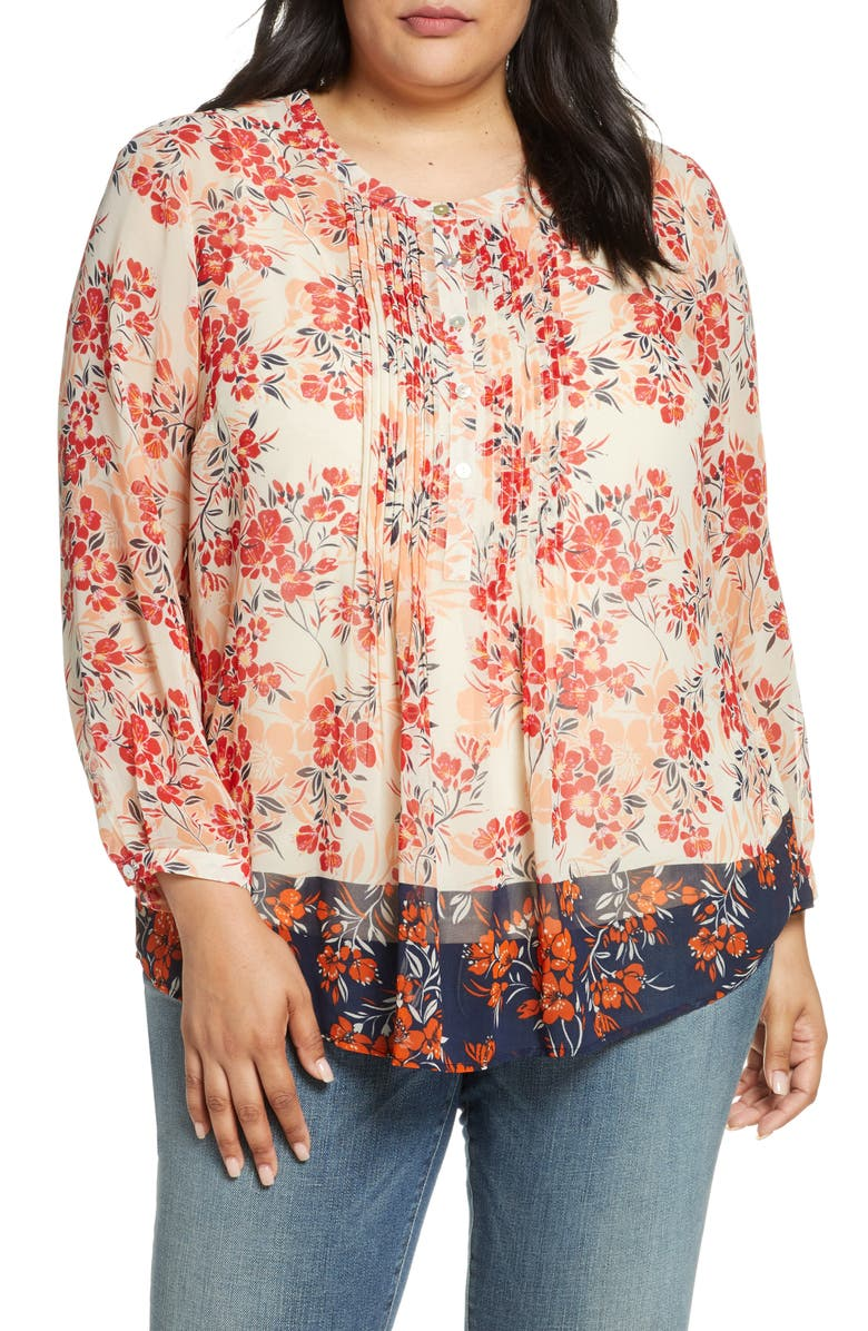 DANIEL RAINN Border Print Pleated Blouse, Main, color, MULTI
