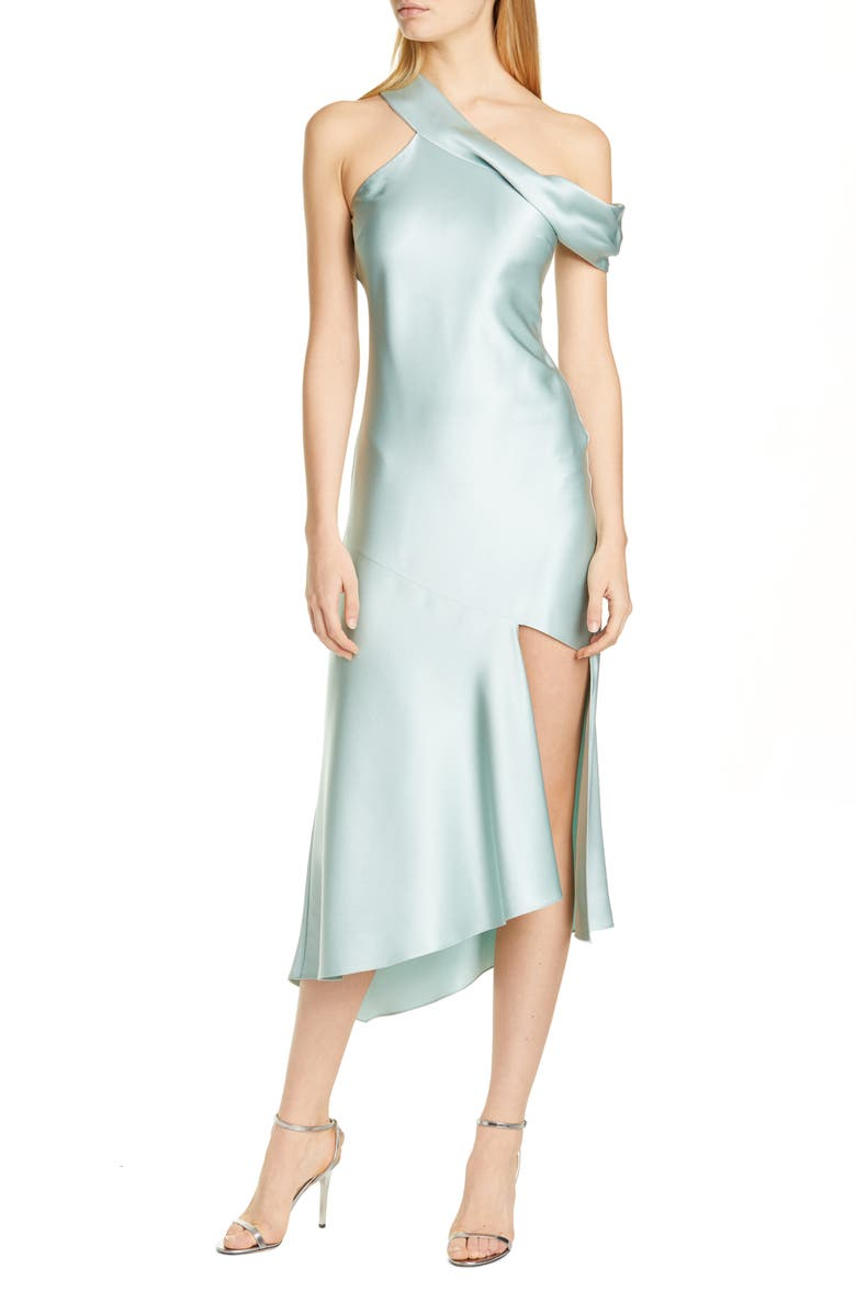 CUSHNIE One-Shoulder Silk Slip Dress, Main, color, JADE