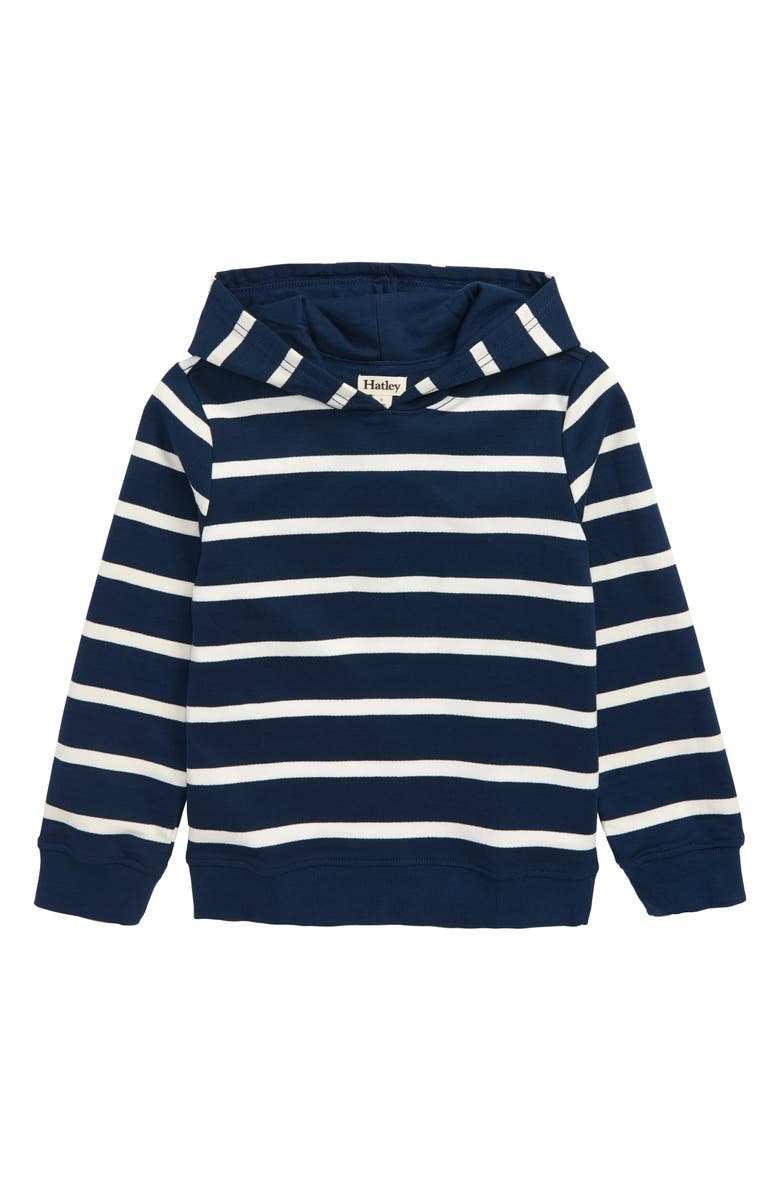 HATLEY Navy Stripe Hooded Pullover, Main, color, BLUE