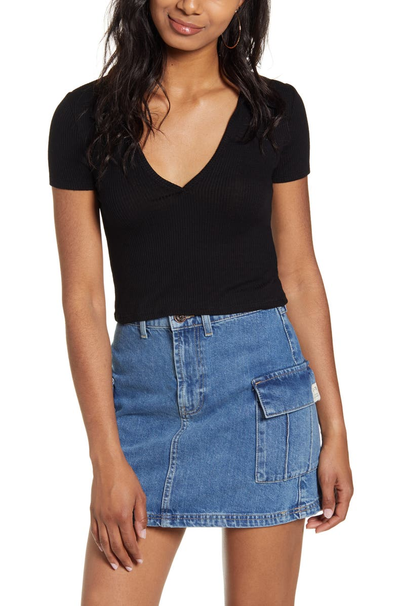 BDG Urban Outfitters Baby Polo Top, Main, color, BLACK