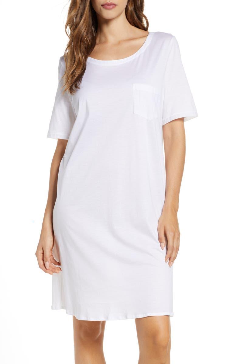 HANRO Cotton Nightshirt, Main, color, WHITE