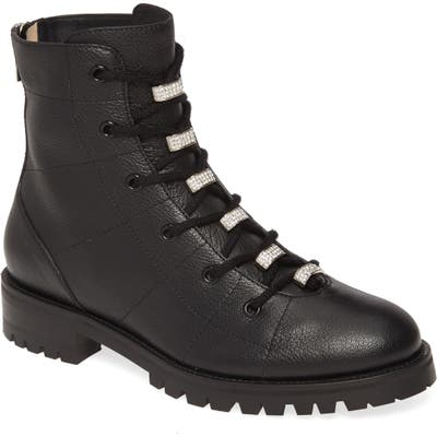 Jimmy Choo Bren Crystal Embellished Combat Boot, Black