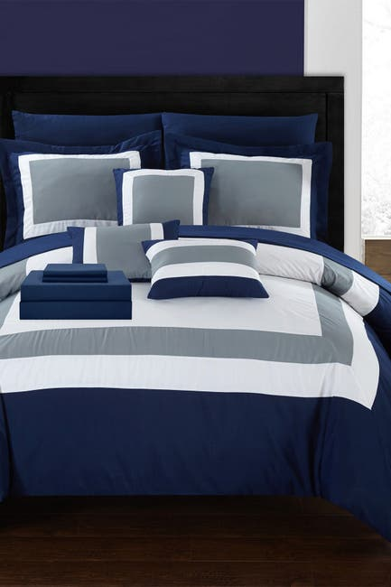 Image of Chic Home Bedding Queen Dylan Patchwork Color Block Complete Comforter 10-Piece Set - Navy