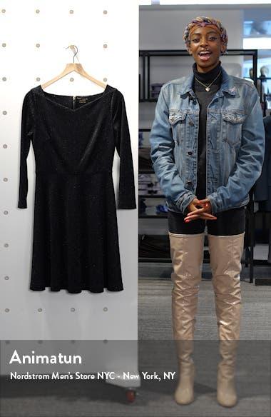 sparkle fit & flare ponte dress, sales video thumbnail