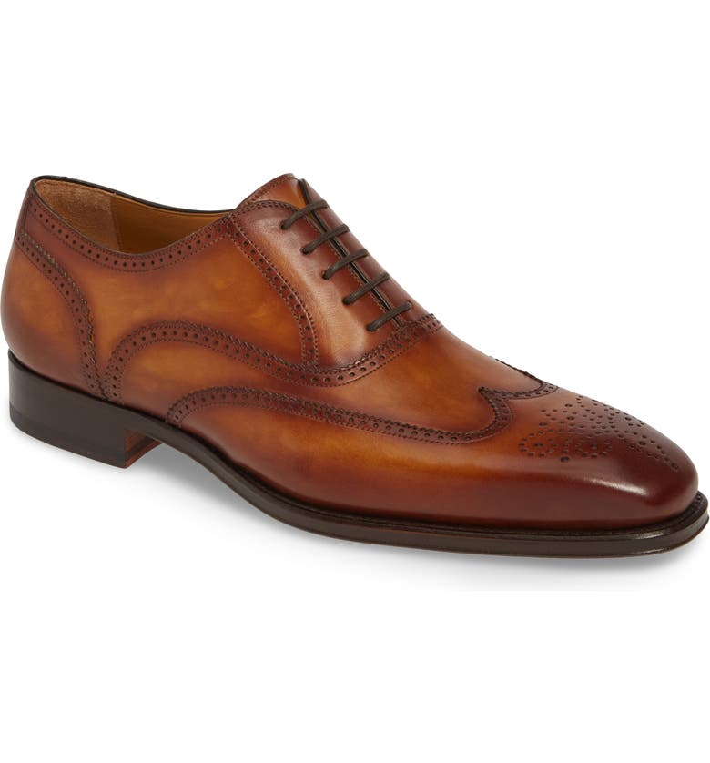 MAGNANNI Ledger Wingtip, Main, color, BROWN LEATHER