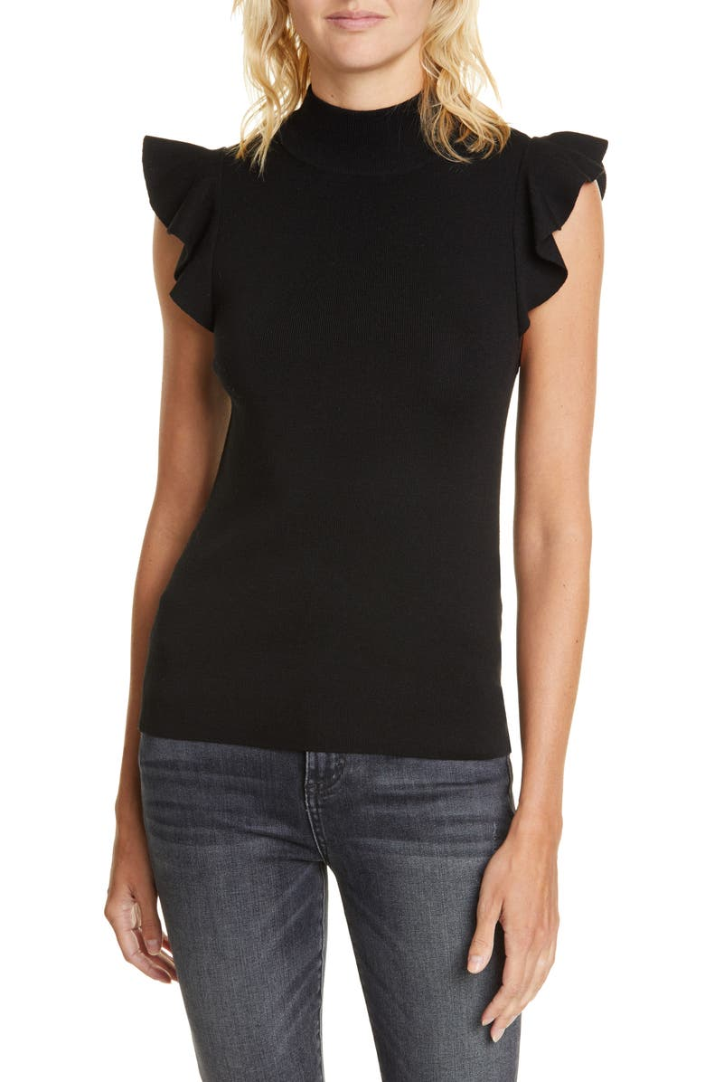 ALICE + OLIVIA Lamara Ruffle Trim Tank Sweater, Main, color, BLACK