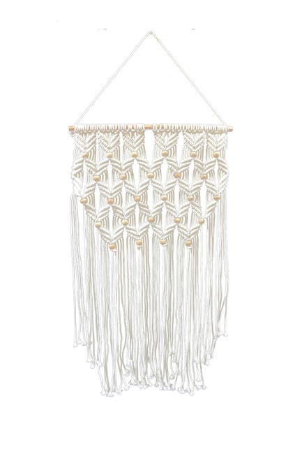 "Image of Concepts in Time 19"" x 34"" Beads Rope Braid Fringe Macrame Wall Hanging"