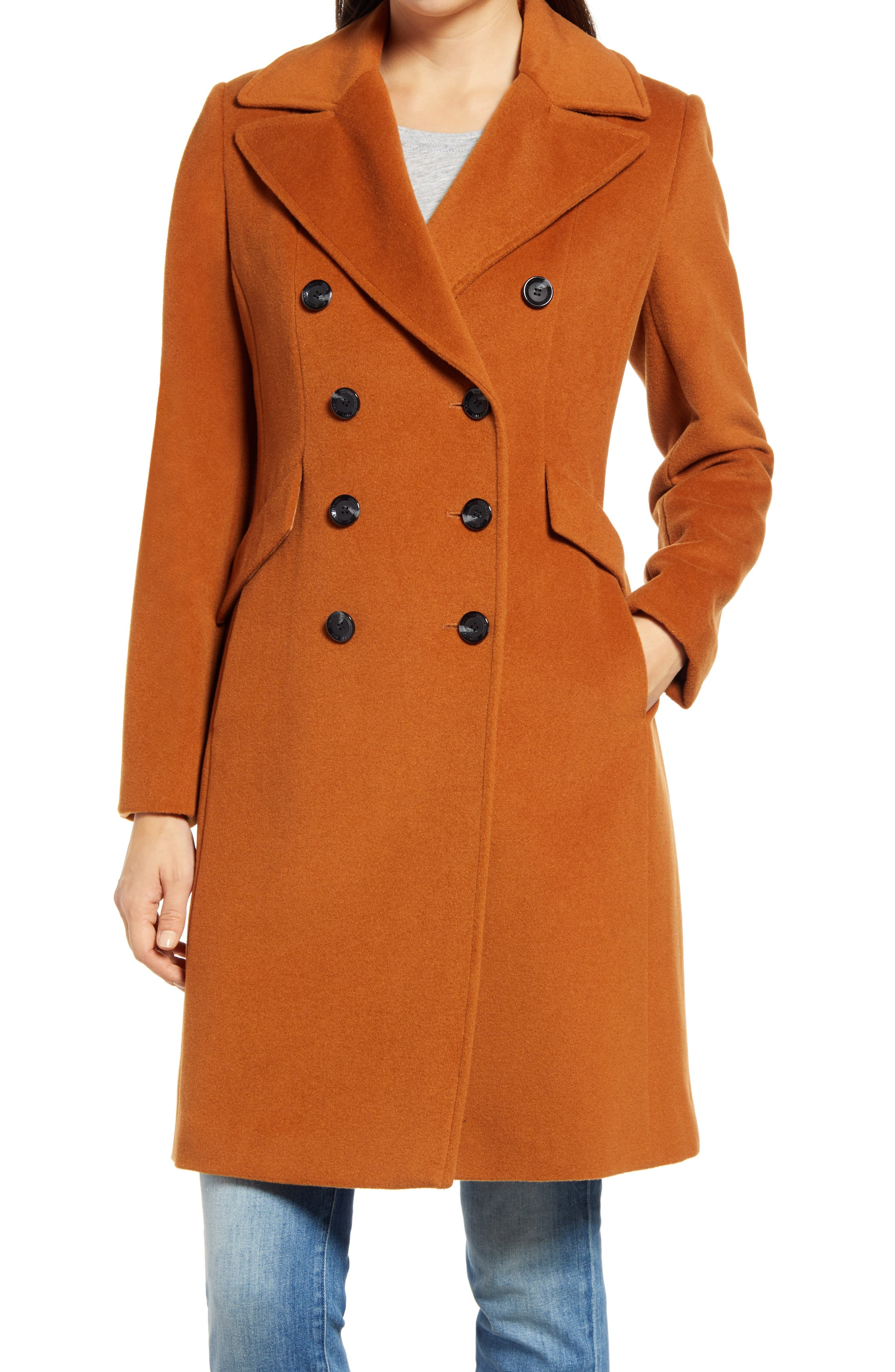 Image of Sam Edelman Double Breasted Wool Blend Coat