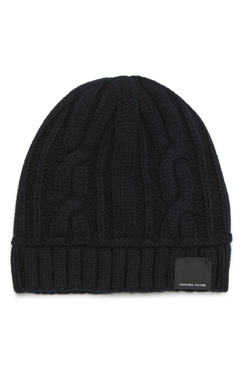 CANADA GOOSE Cabled Merino Wool Toque Beanie, Main, color, BLACK