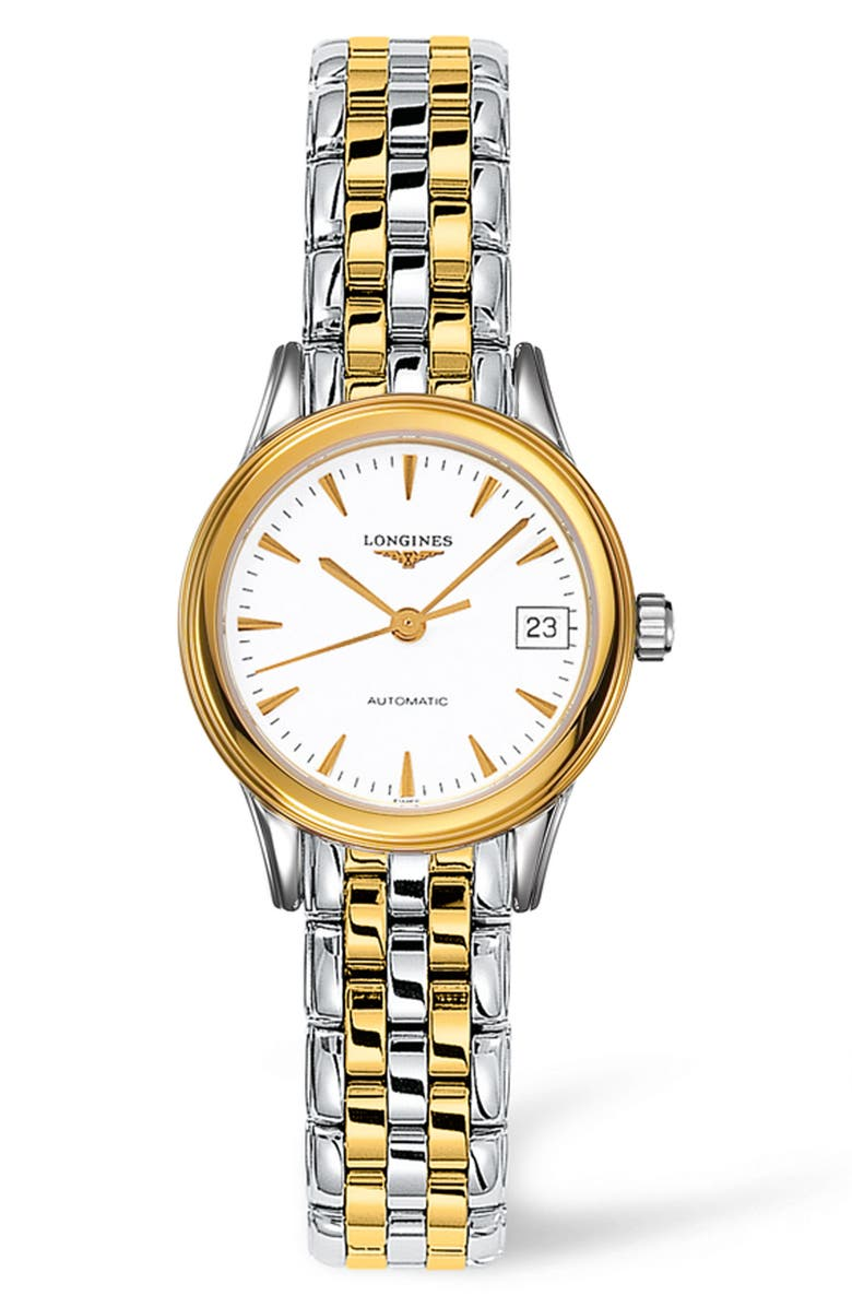 LONGINES Flagship Automatic Bracelet Watch, 26mm, Main, color, SILVER/ WHITE/ GOLD