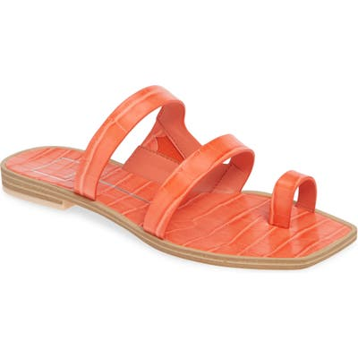 Dolce Vita Isla 3 Croc Textured Slide Sandal, Red