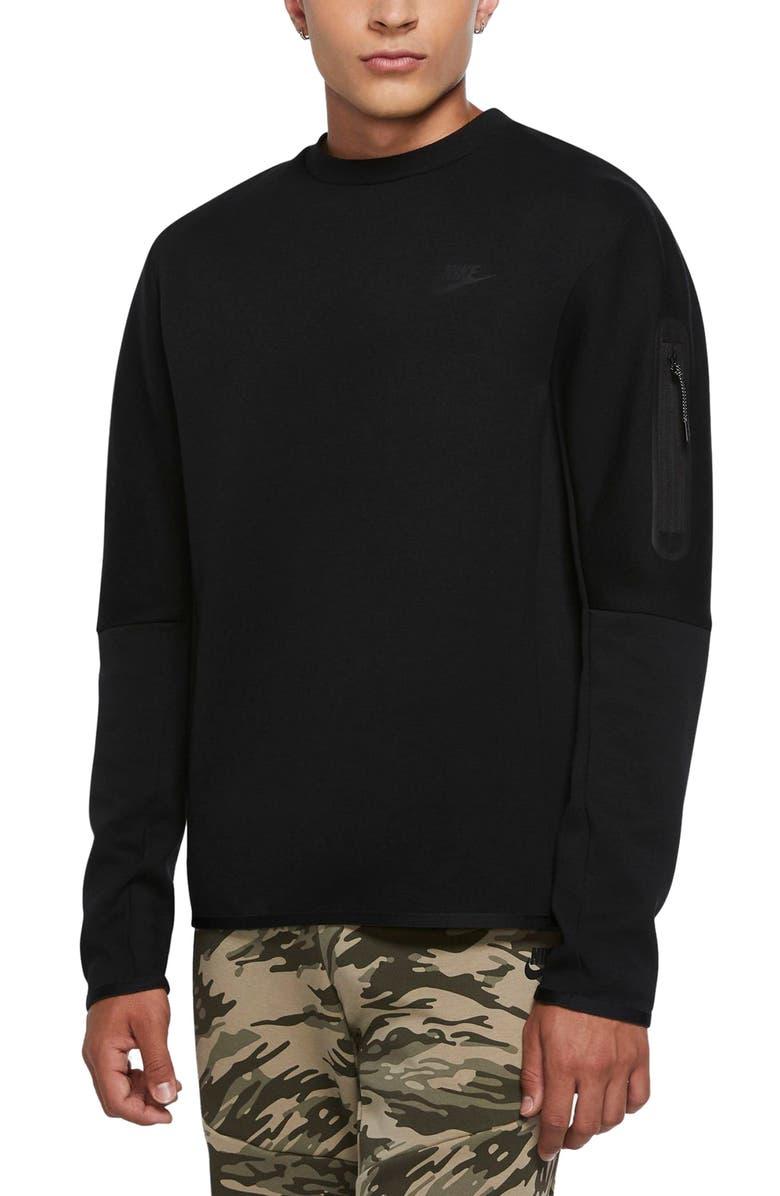 NIKE Sportswear Tech Fleece Crewneck Sweatshirt, Main, color, BLACK/ BLACK