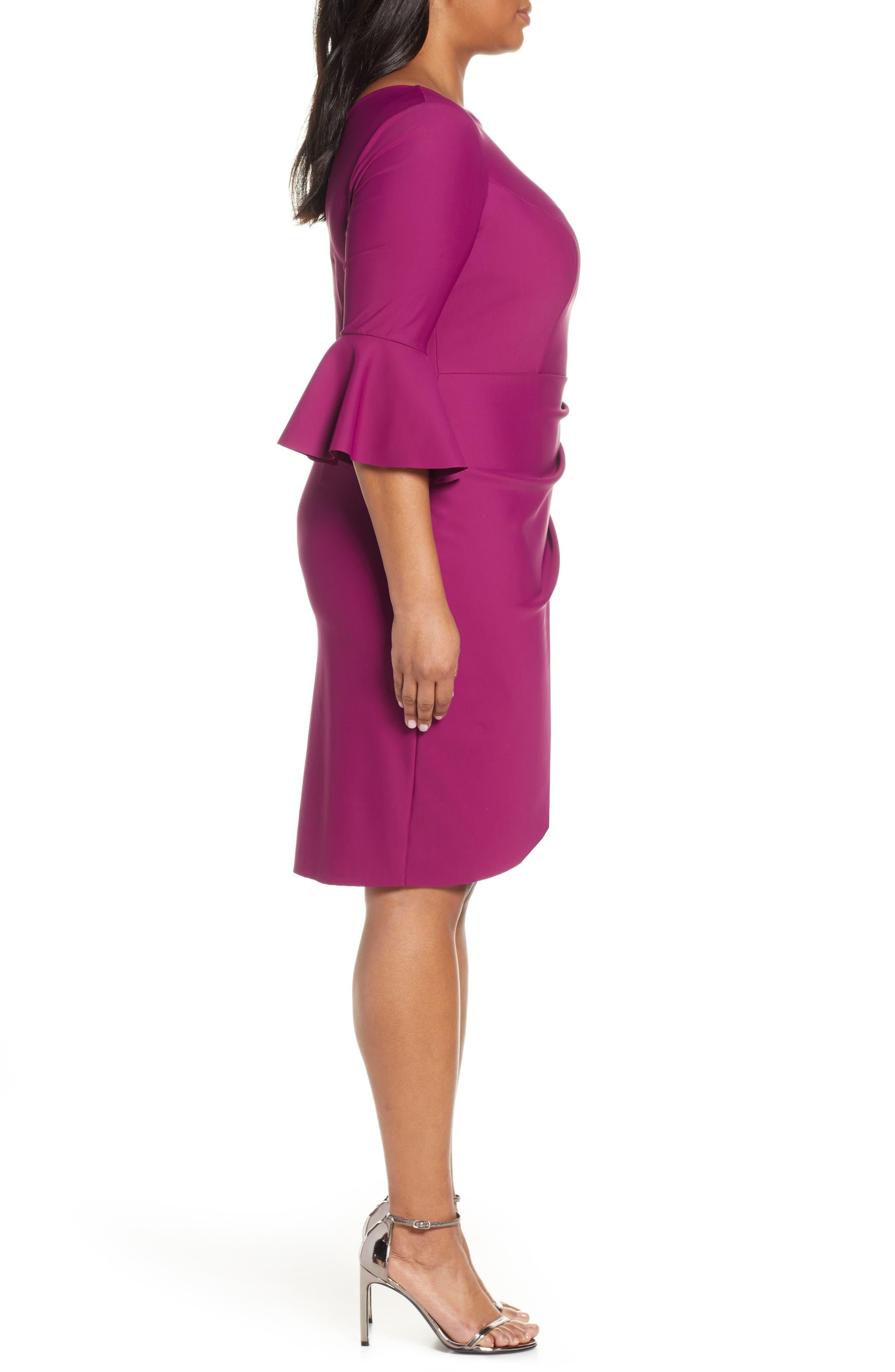 ,                             Bell Sleeve Sheath Dress,                             Alternate thumbnail 4, color,                             PASSION