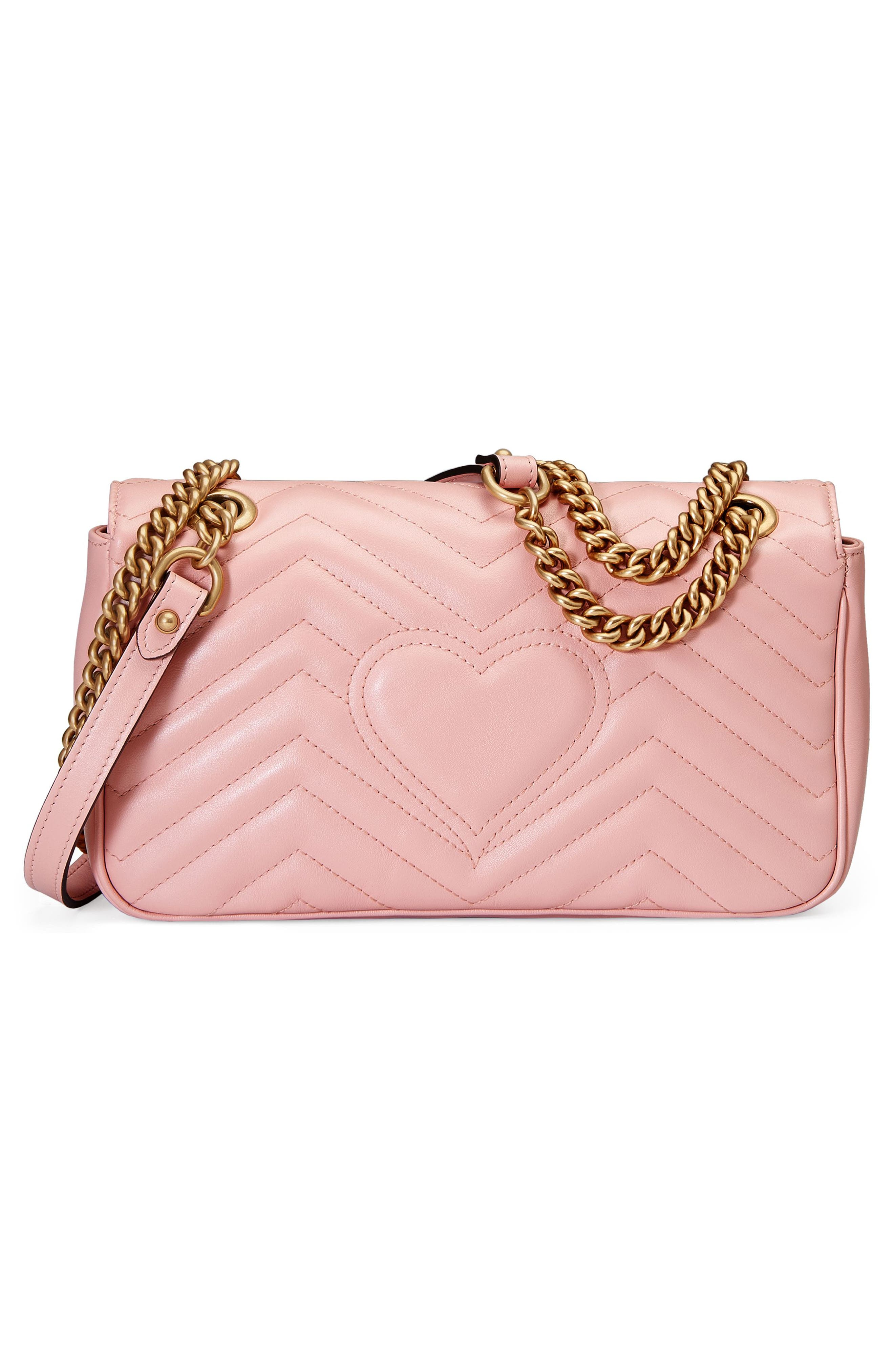 ,                             Small GG Marmont 2.0 Matelassé Leather Shoulder Bag,                             Alternate thumbnail 3, color,                             PERFECT PINK/ PERFECT PINK