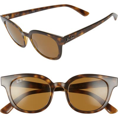 Ray-Ban 50Mm Polarized Cat Eye Sunglasses - Havana/ Dk Brown Polar