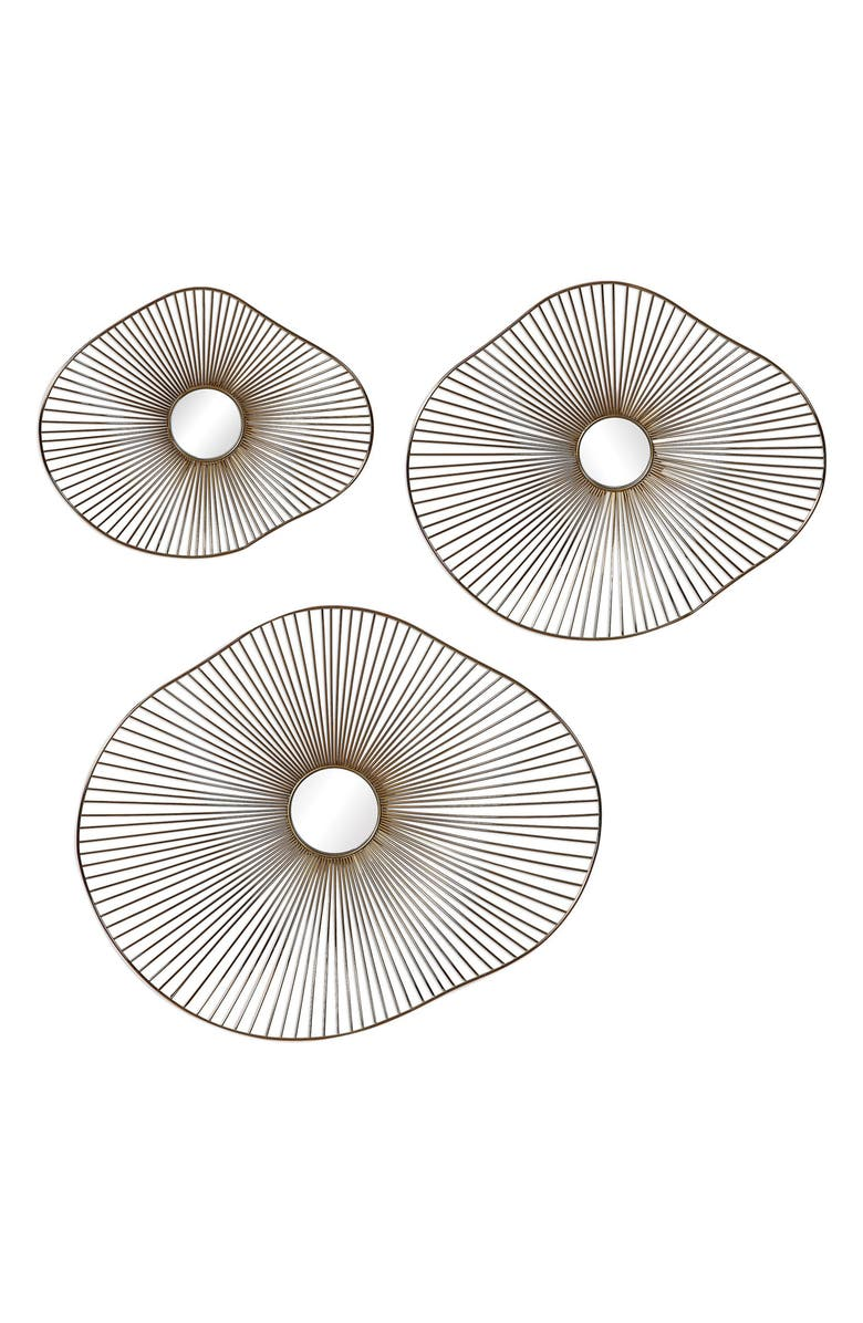 UTTERMOST Avarie Set of 3 Metal Wall Art Pieces, Main, color, GOLD