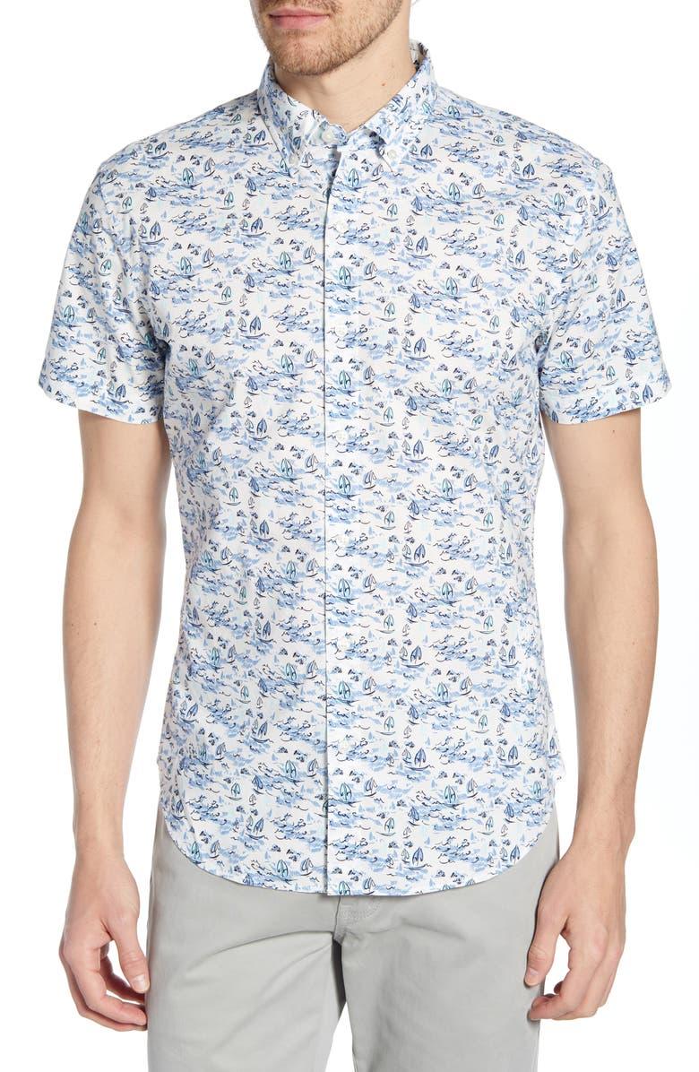 BONOBOS Riviera Slim Fit Print Shirt, Main, color, SAILING - ATMOSPHERE