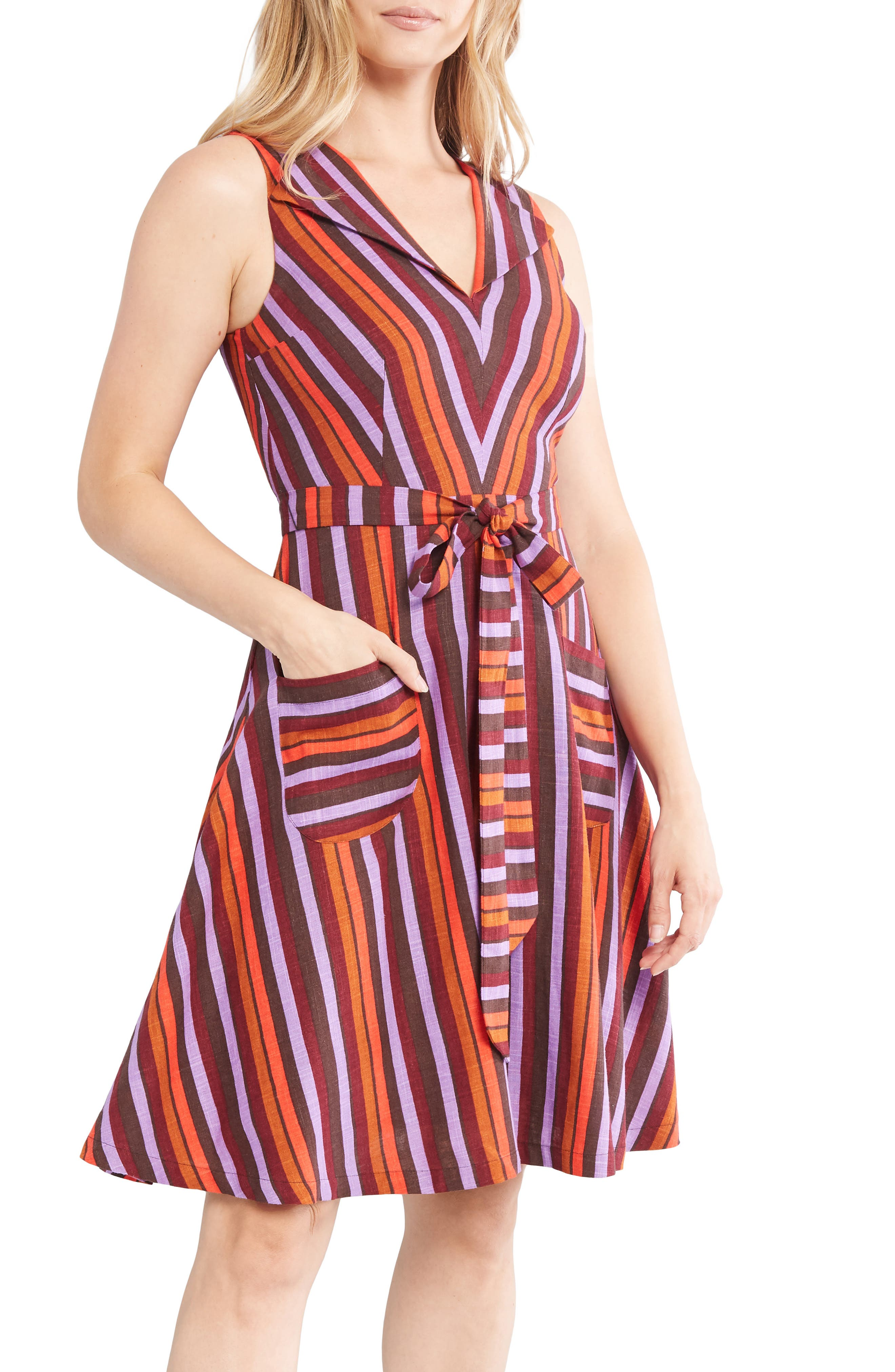Pin Up Dresses | Pinup Clothing & Fashion Womens Modcloth Stripe Sleeveless Fit  Flare Dress Size Large - Burgundy $53.40 AT vintagedancer.com