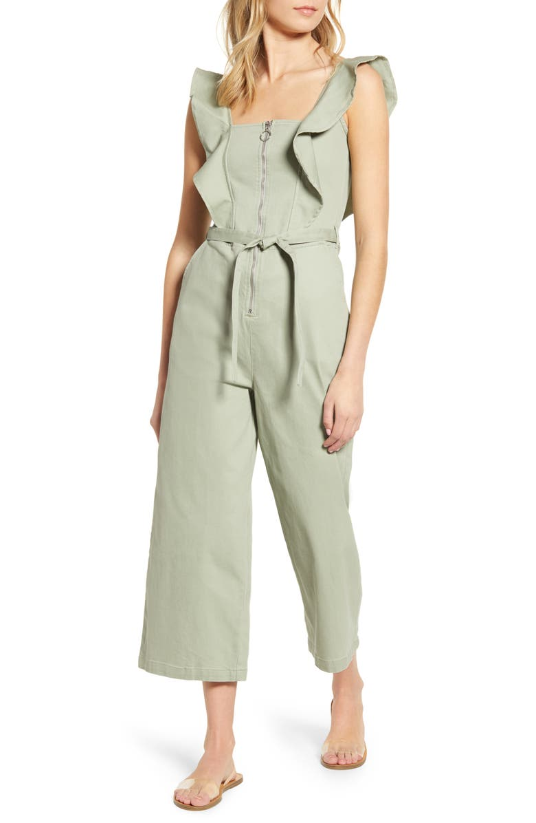 TINSEL Ruffle Strap Belted Jumpsuit, Main, color, SEAGRASS