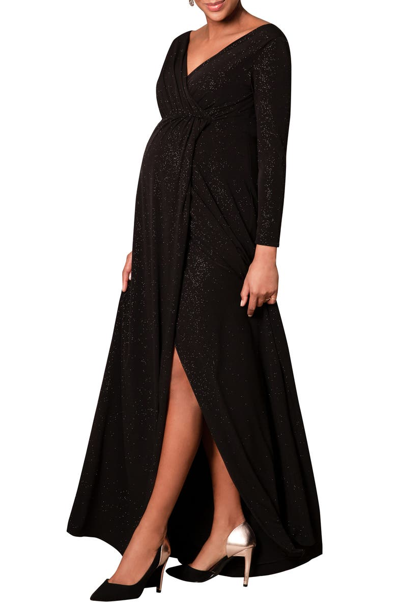 TIFFANY ROSE Isabella Maternity Gown, Main, color, GLITTER BLACK