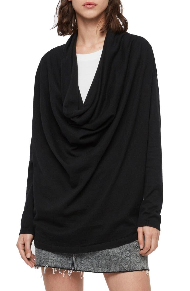 ALLSAINTS Cowl Neck Sweater, Main, color, BLACK