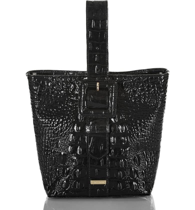 BRAHMIN Faith Croc Embossed Leather Wristlet Pouchette Bag, Main, color, BLACK