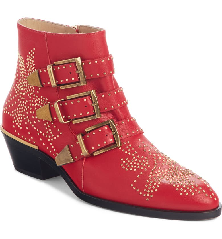 CHLOÉ Susanna Stud Buckle Bootie, Main, color, TULIP RED