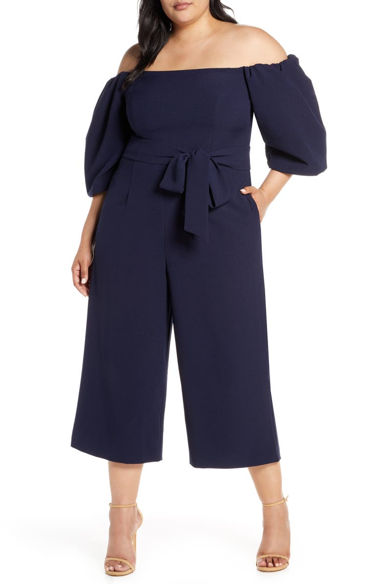 CHELSEA28 Puff Sleeve Off the Shoulder Jumpsuit, Main, color, 410