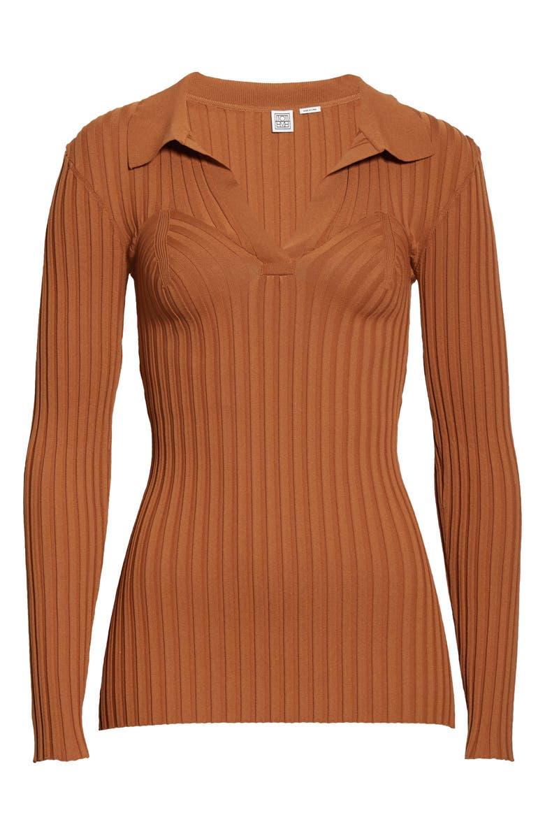 TOTÊME Arradon Rib Long Sleeve Top, Main, color, 200