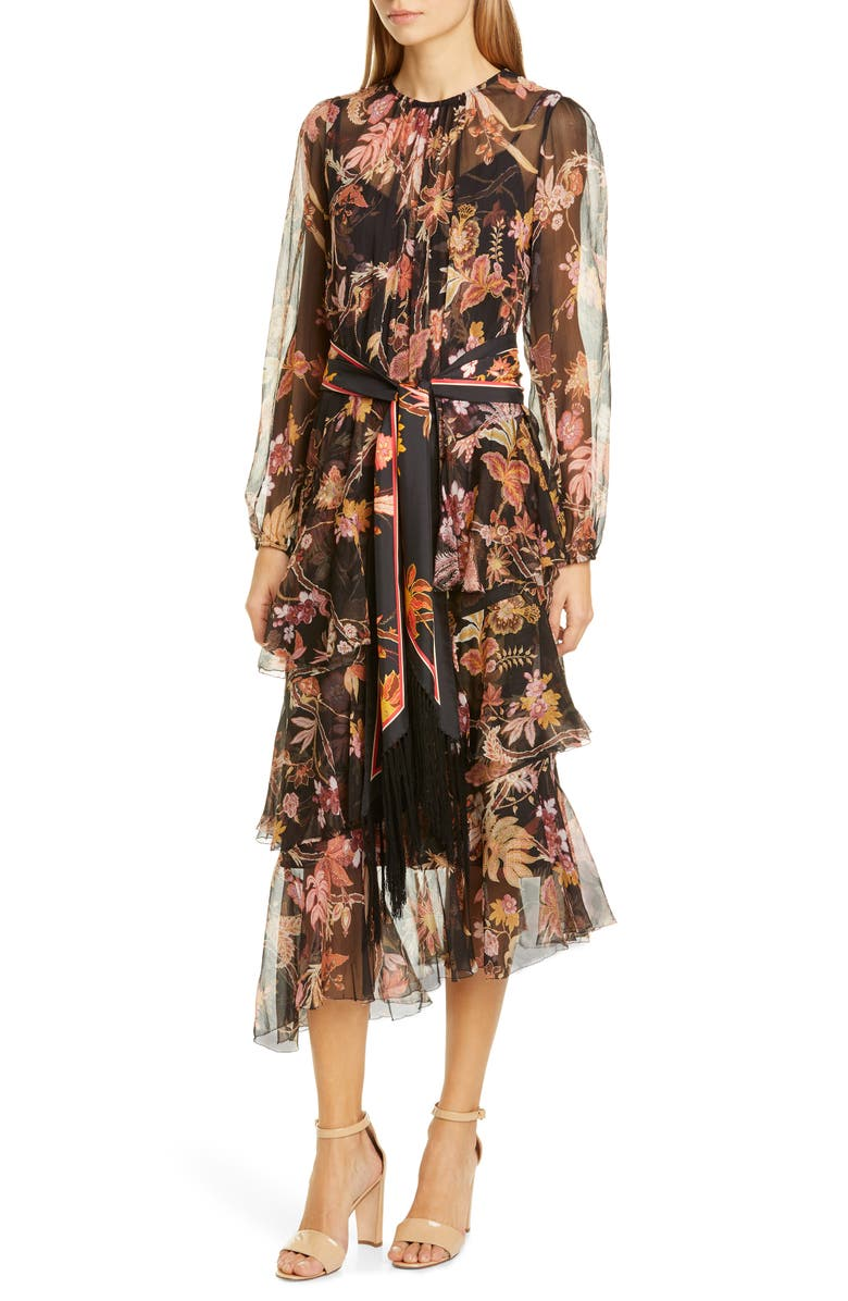 ZIMMERMANN Wavelength Floral Long Sleeve Asymmetrical Silk Midi Dress, Main, color, BLACK PHOENIX