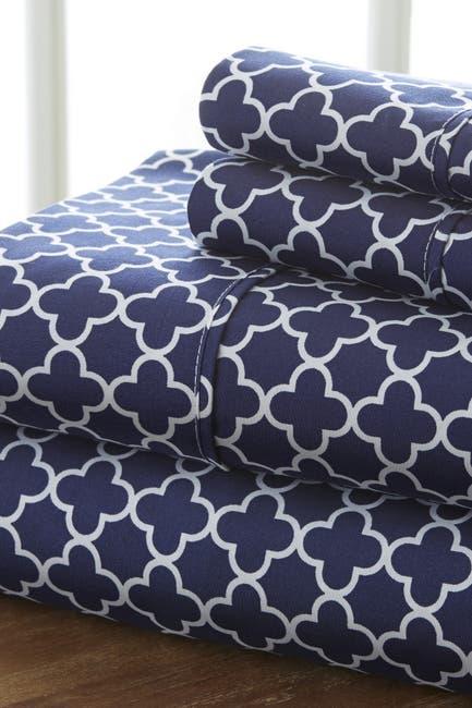 Image of IENJOY HOME Home Spun Premium Ultra Soft Quatrefoil Pattern 4-Piece California King Bed Sheet Set - Navy