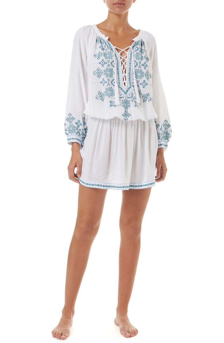 MELISSA ODABASH Nadja Cover-Up Dress, Main, color, WHITE/ GREEN