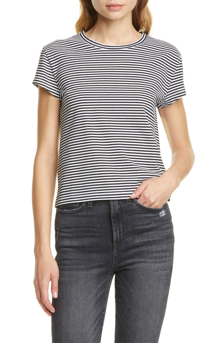 LA LIGNE Stripe Shrunken Tee, Main, color, WHITE/ BLACK