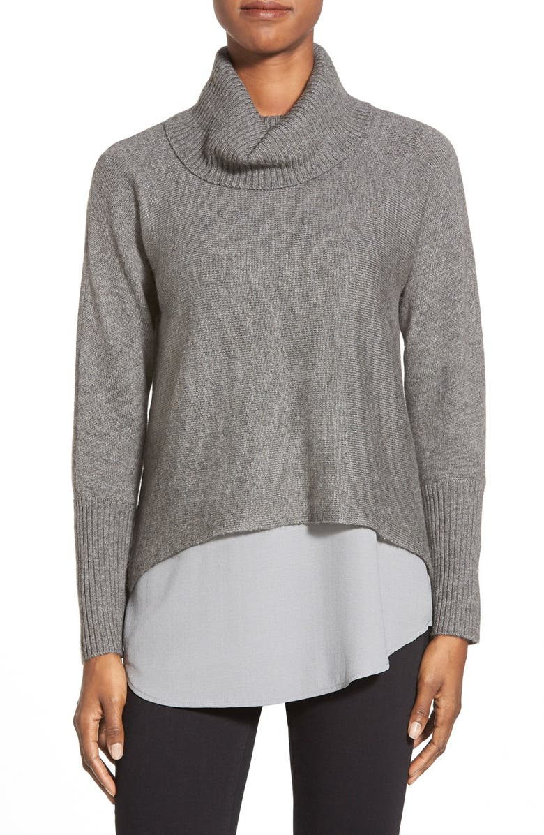 EILEEN FISHER Boxy Wool Blend Turtleneck Top, Main, color, 030