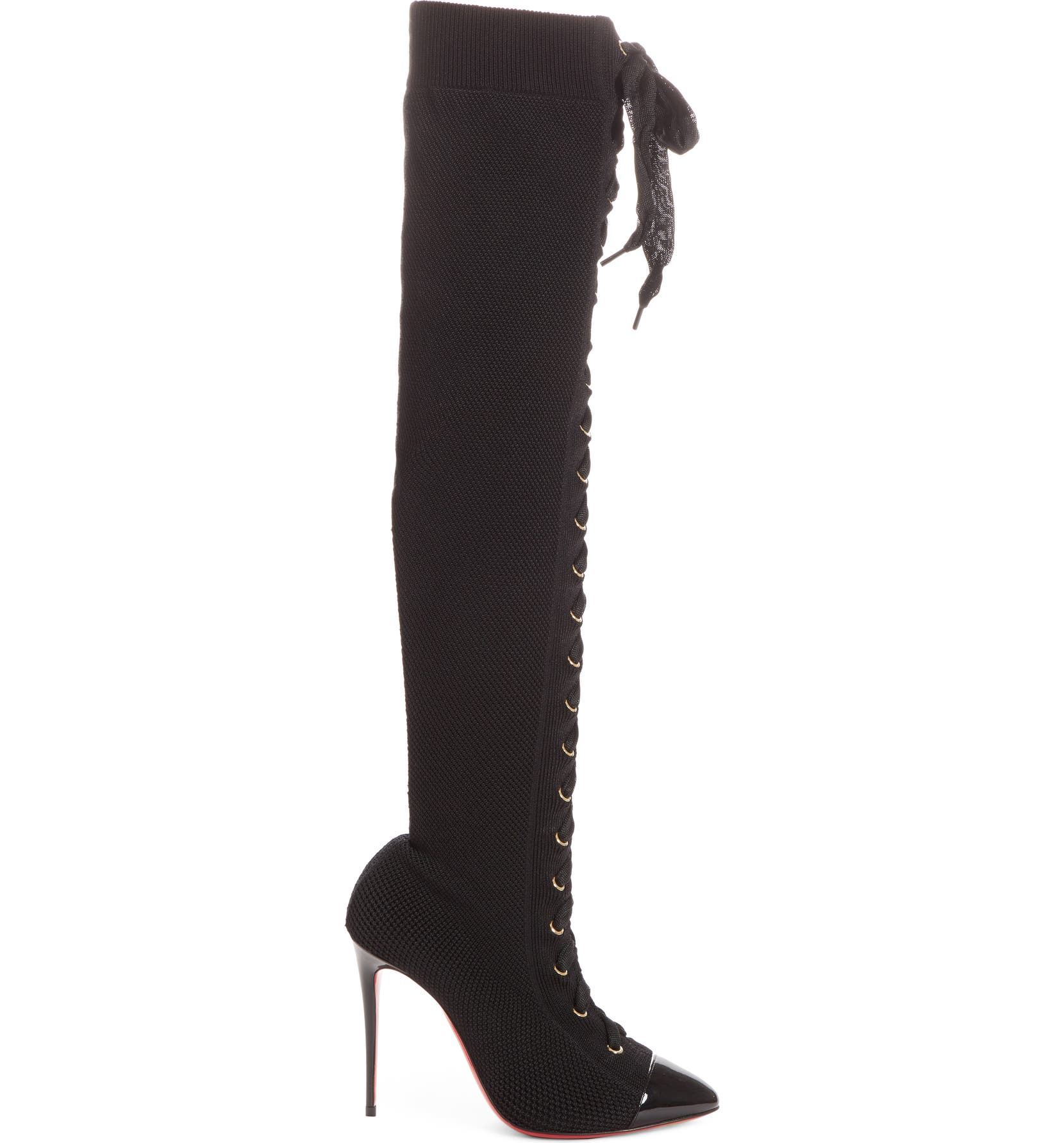 brand new 3ea3d 7075a Christian Louboutin Frenchie Lace-Up Over the Knee Sock Boot ...