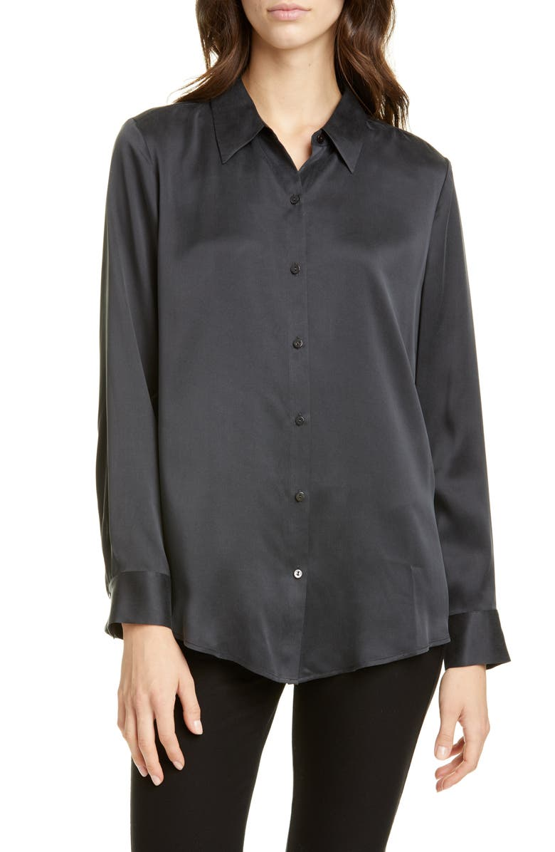 EILEEN FISHER Silk Shirt, Main, color, CHARCOAL