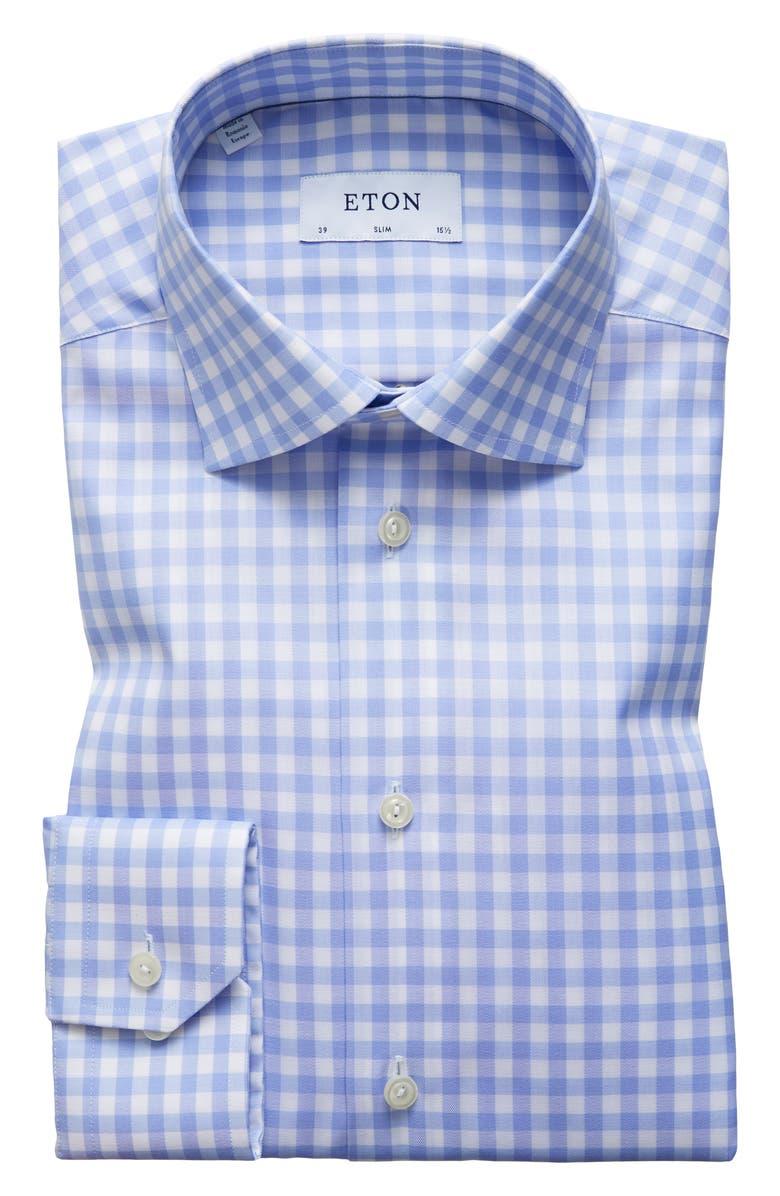 ETON Slim Fit Check Dress Shirt, Main, color, BLUE