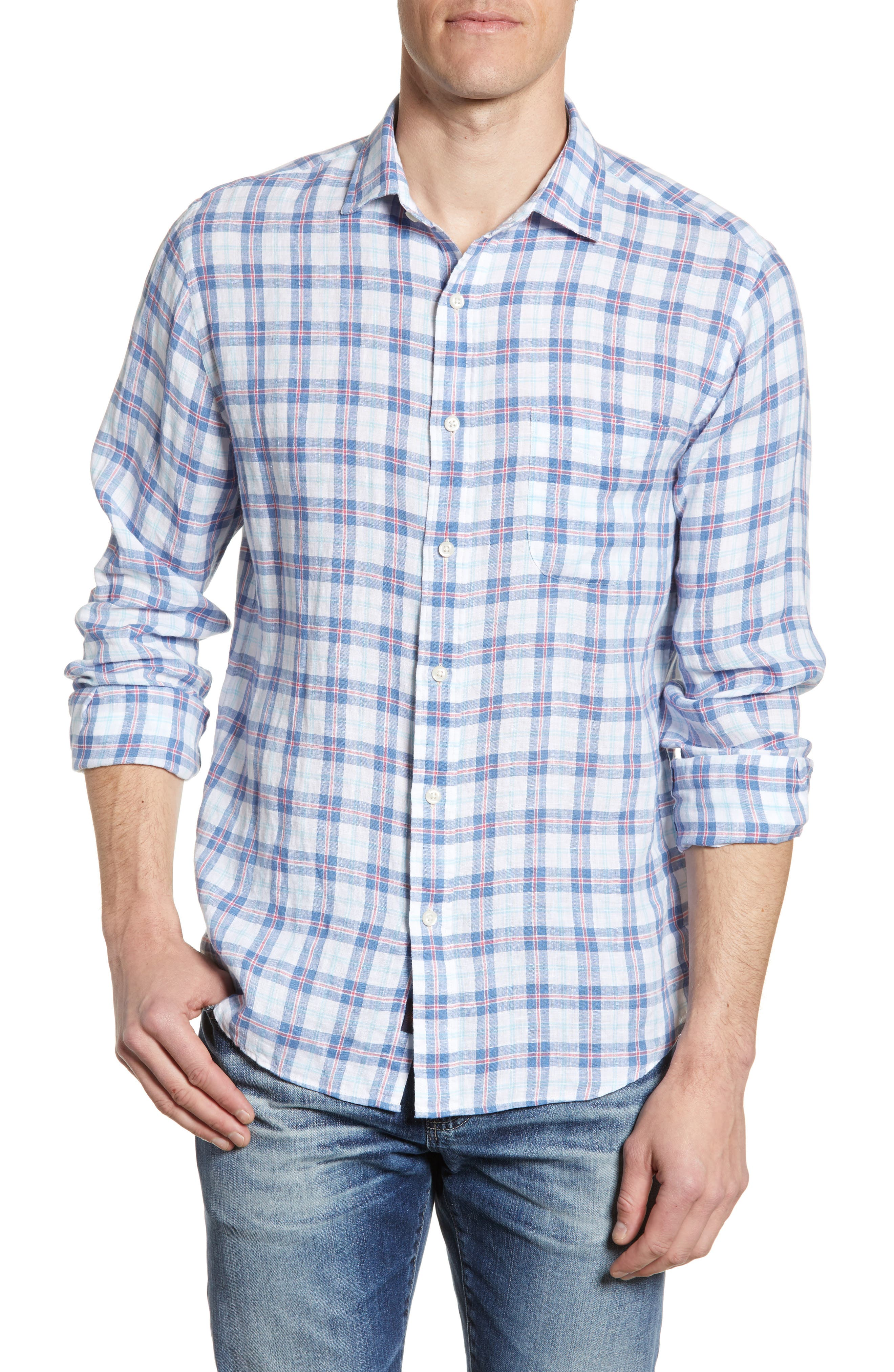 Faherty T-shirts Plaid Linen Button-Up Shirt