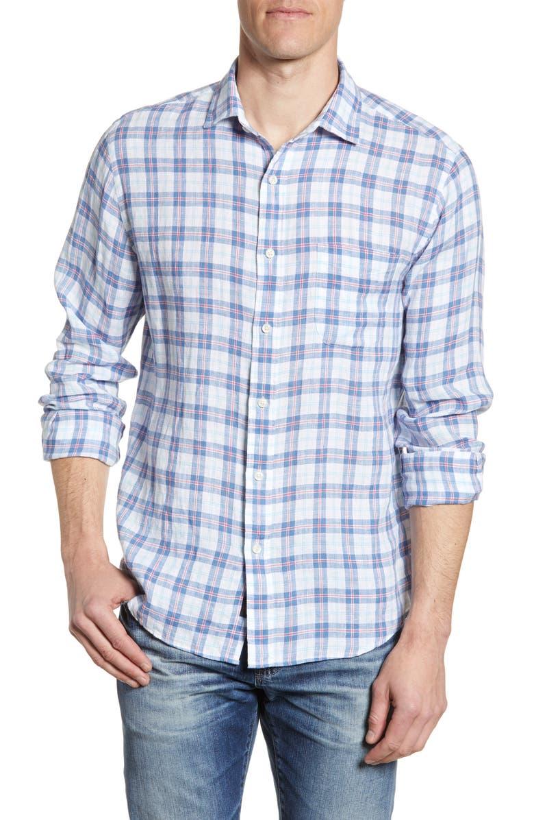 FAHERTY Plaid Linen Button-Up Shirt, Main, color, 402