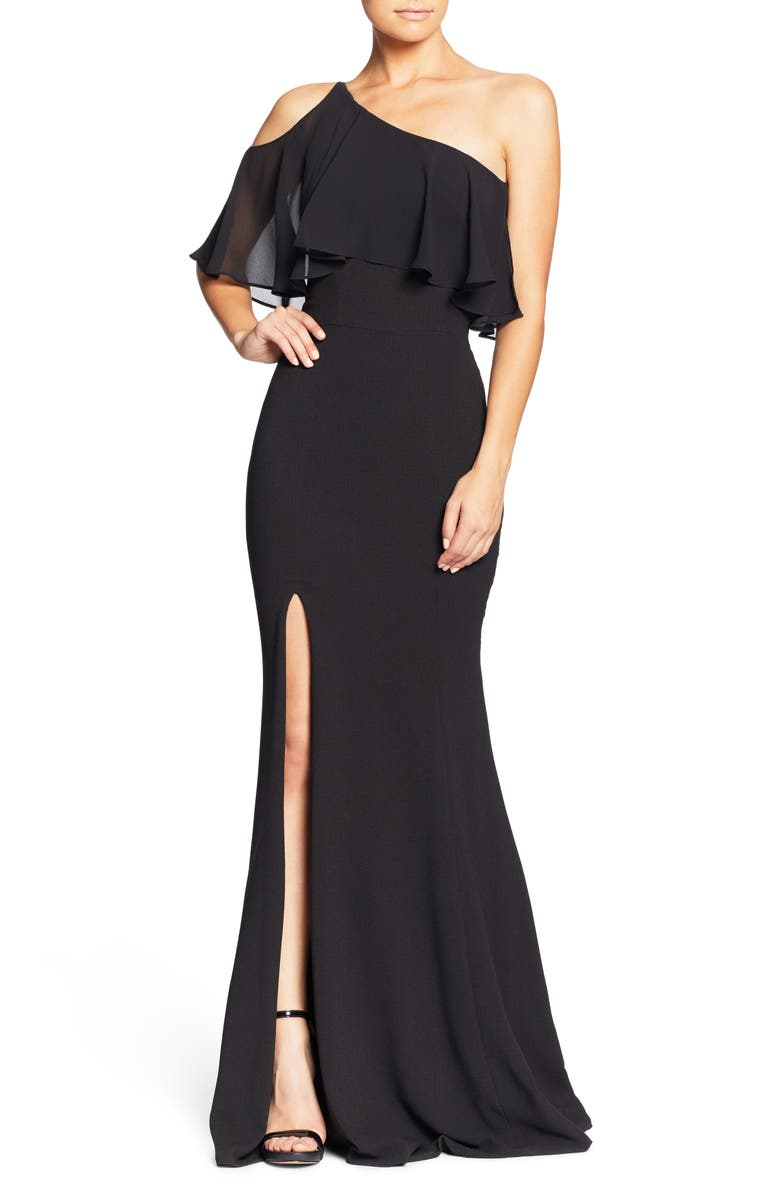 DRESS THE POPULATION Faith One-Shoulder Flounce Crepe Gown, Main, color, 001