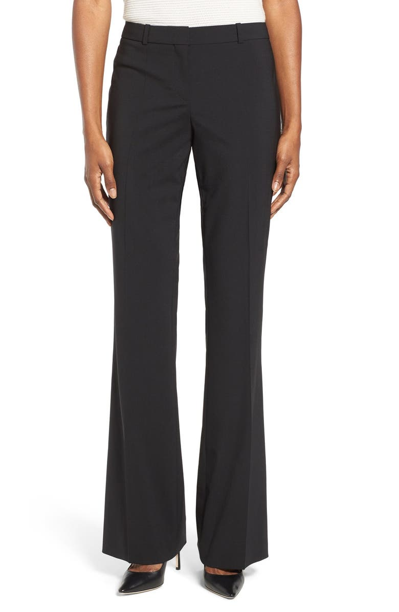 BOSS Tulea3 Tropical Stretch Wool Trousers, Main, color, BLACK