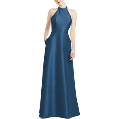 Alfred Sung Halter Style Satin Twill A-Line Gown, Blue