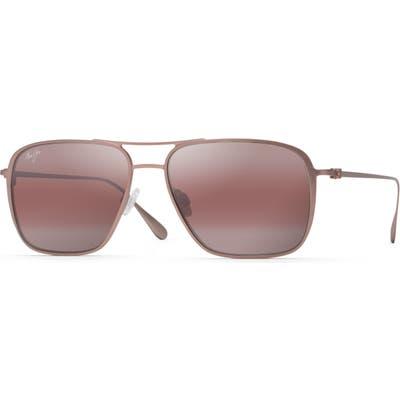 Maui Jim Beaches Polarizedplus2 57mm Navigator Sunglasses - Satin Brown Red