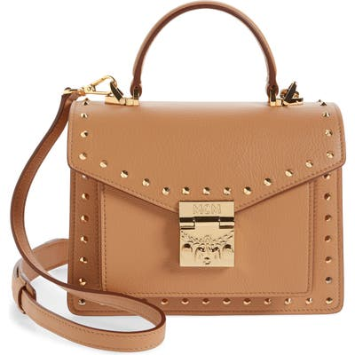 Mcm Patricia Outline Park Avenue Studded Leather Satchel - Brown