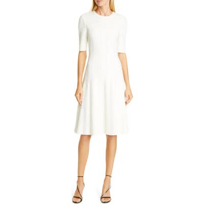 St. John Collection Engineered Lace Jacquard Sweater Dress, White