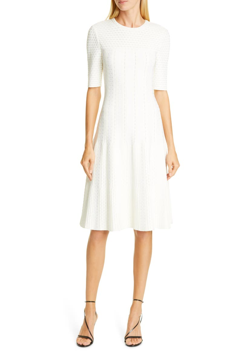 ST. JOHN COLLECTION Engineered Lace Jacquard Sweater Dress, Main, color, CREAM